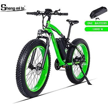 Shengmilo 1000W Motor Eléctricas,26 Pulgadas Mountain E-Bike, Bicicleta Plegable Eléctrica, Neumático Gordo de 4 Pulgadas, Solo Una Batería Incluida (Verde): Amazon.es: Deportes y aire libre