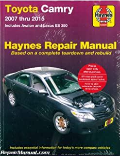 H92009 Haynes Toyota Camry Avalon Lexus ES 350 2007-2015 Car Repair Manual