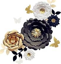 Fonder Mols 3D Paper Flower Decorations(Set of 13, White Black Gold), Giant Paper Flowers for Wedding Backdrop, Graduation Party, Bridal Shower, Wedding Centerpieces, Nursery Wall Decor