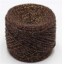 1 ovillo de 50 g para tejer ganchillo, hilo de algodón metálico para tejer a mano, Café (Coffee Gold), the size, 1