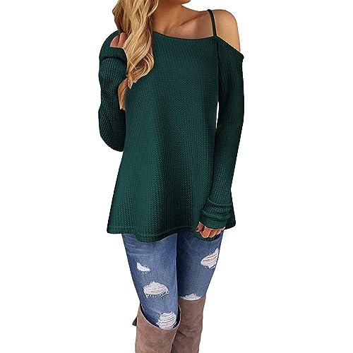 KILIG Women s Long Sleeve Cold Shoulder Knitted Sweater Split Tunic Tops af9b070f7