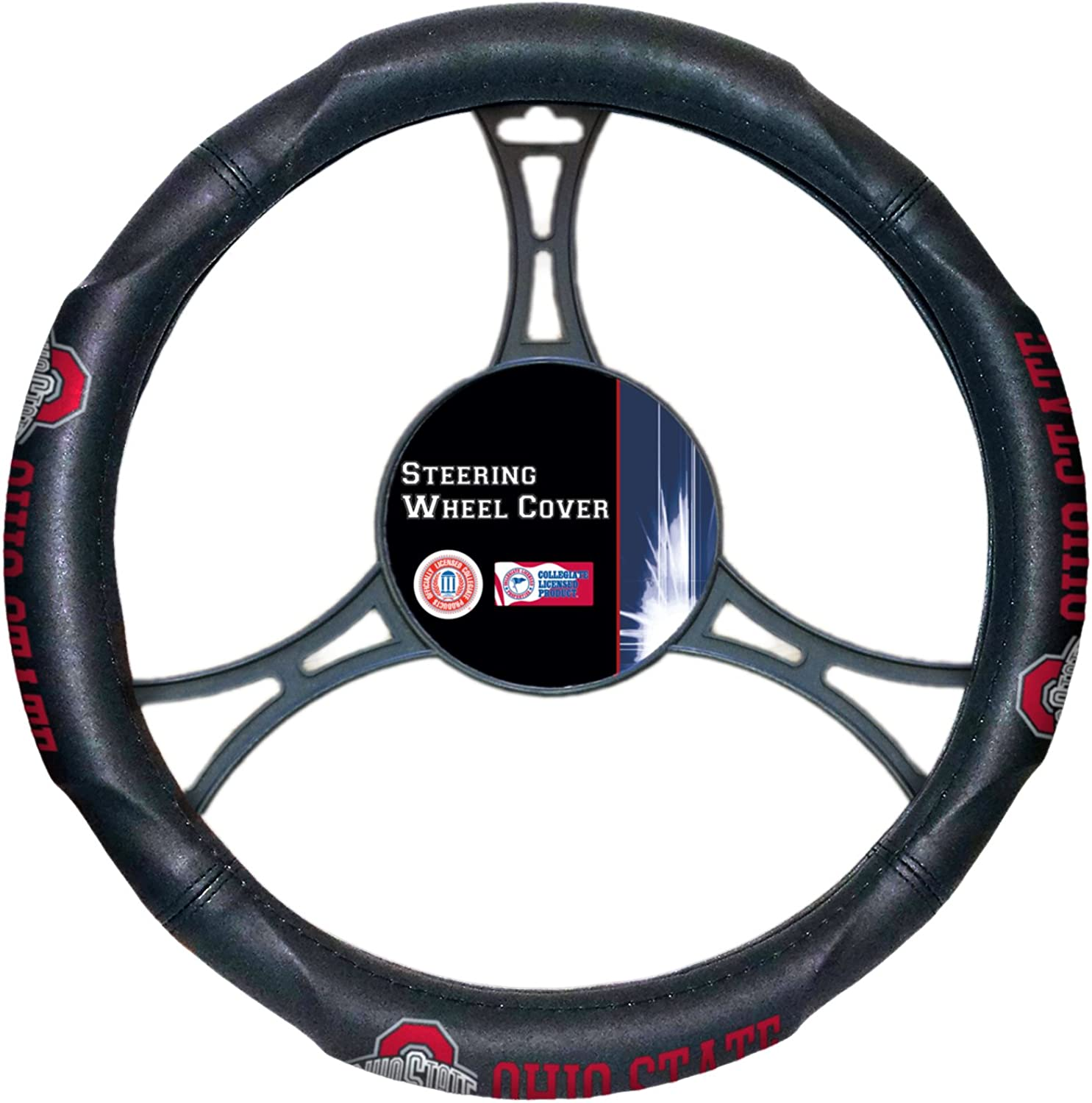 NCAA Wheel Cover, Unisex, NCAA Ohio State Buckeyes Licensed Steering Wheel Cover, One Size, Scarlet, 1COL605000007RET, Scarlet, One Size