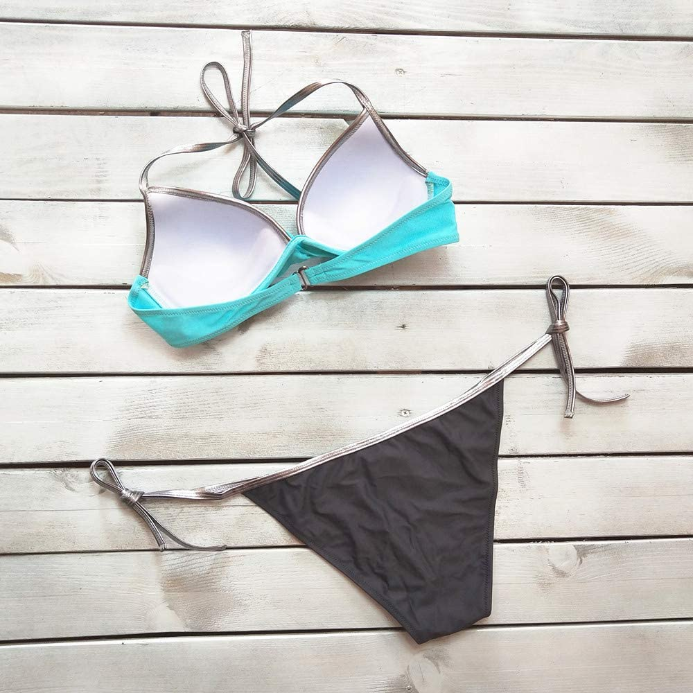 BOLANQ Frauen Einfarbig Bandage Bikini Set Brasilianische Badebekleidung Beachwear Badeanzug B-blau