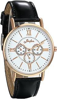 JewelryWe Women Wrist Watches 3 Eyes Roman Numerals Quartz Watches Leather Strap Black Watches for Ladies