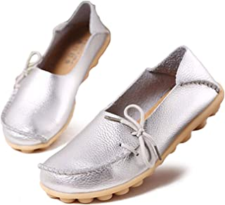 Women Flat Shoes Woman Loafers Plus Size Women's Genuine Leather Casual Shoes Lace up Female Footwear
