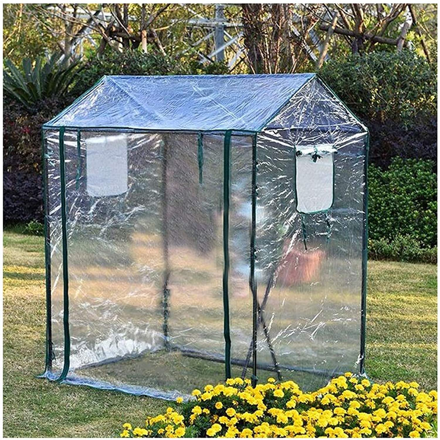 LIANGLIANGGreenhouses Growhouse Walkin Garden Plant Flower House Heat Cover Cover Durable Windproof Rainproof (color   Clear, Size   125x85x150cm)