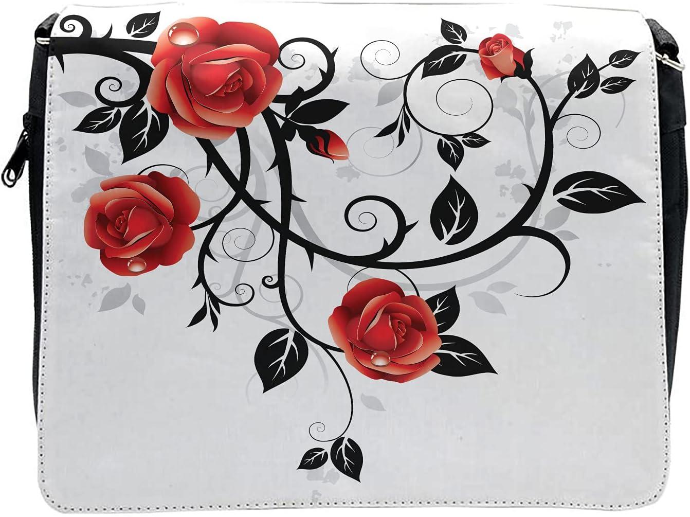 Ambesonne Gothic Cross Body Messenger Bag, Swirling Roses Garden, Unisex