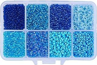 PH PandaHall 8000pcs 12/0 Blue Glass Seed Beads 2mm 8 Colors Mini Beads for Jewelry Making DIY Craft Beading