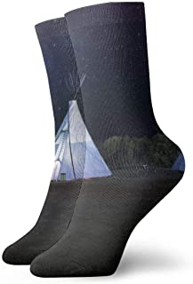 Tre vita Tipi-tält unisex lediga halkfria kompressionsstrumpor för arbete polyester crew-strumpor 30 cm (11,8 tum)