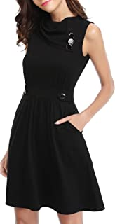 Women's Sleeveless Cowl Neck Summer Casual Flared Midi Tank Dress with Pocket