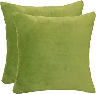 Sykting Decorative Pillow Covers Solid Super Soft Square Cushion Covers Fuzzy Pillow Cases for Bed Couch Chair Pack of 2 18 x 18 inch Green