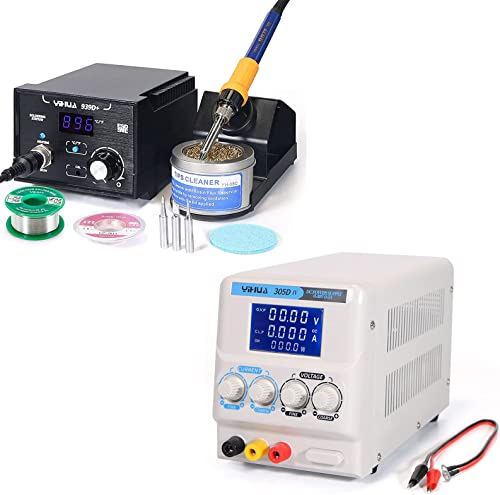 wholesale YIHUA 939D+ Digital Soldering Station bundle with YIHUA 305D-IV Regulated DC Lab Power high quality popular Supply with Holder, Soldering Cleaning Kit, and Accessories (12 Items) outlet online sale