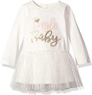 Girls' Christmas Jingle Baby Long Sleeve Mesh Overlay Tutu Dress