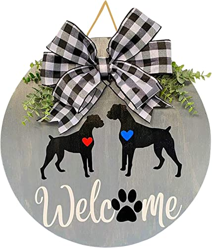 """lowest Welcome online sale Sign for Front Door Wreath Wooden Hanging Sign with Paw for wholesale Front Porch Rustic Bufflo Bow Wooden Door Hangers Outdoor Decorations for Home Farmhouse Front Porch Restaurant, 12"""" online"""