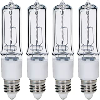 GMY 4Pack - 100 Watt JD E11 T4 Mini Candelabra Base JDE11 120V 100W 1600lm 2800K Clear Dimmable Halogen Light Bulbs