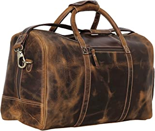 Leather Duffel Bag Travel Gym Sports Overnight Weekend cabin holdall by KomalC (Distressed Tan)