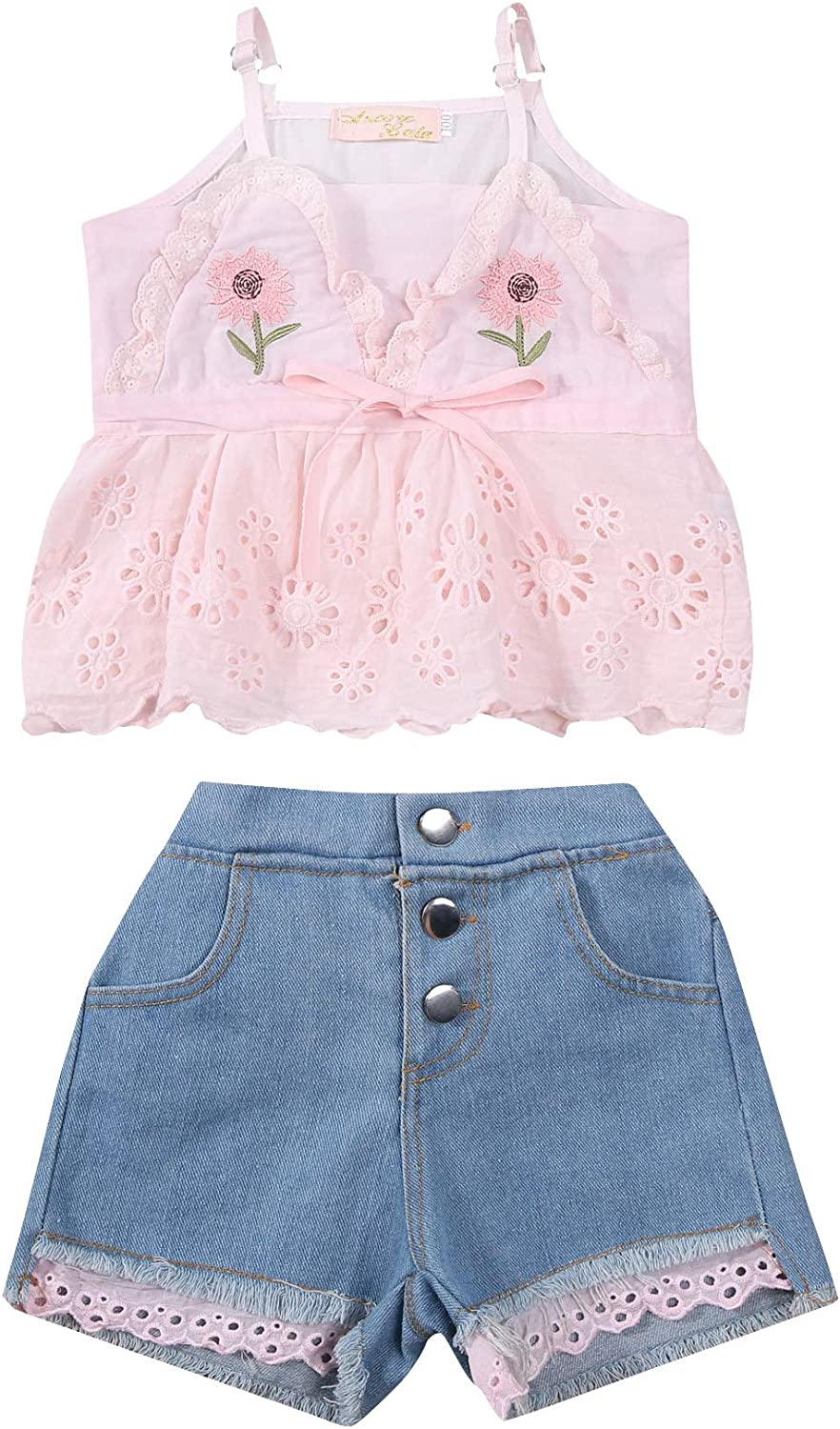 Inevnen Baby Girl Clothes Infant Toddler Girl Summer Outfits Floral Top Ripped Denim Shorts Set