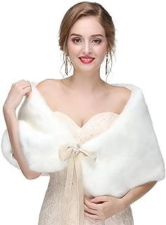 TwoShawl Long Fur Shrug Cape,Bridal Wedding Faux Fur Shawl and Wraps Winter Warm Party Evening Fur Stole