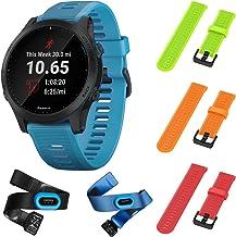 Garmin Forerunner 945 Bundle, Premium GPS Running/Triathlon Smartwatch with Music Included Wearable4U 3 Straps Bundle (Lime/Orange/Red)