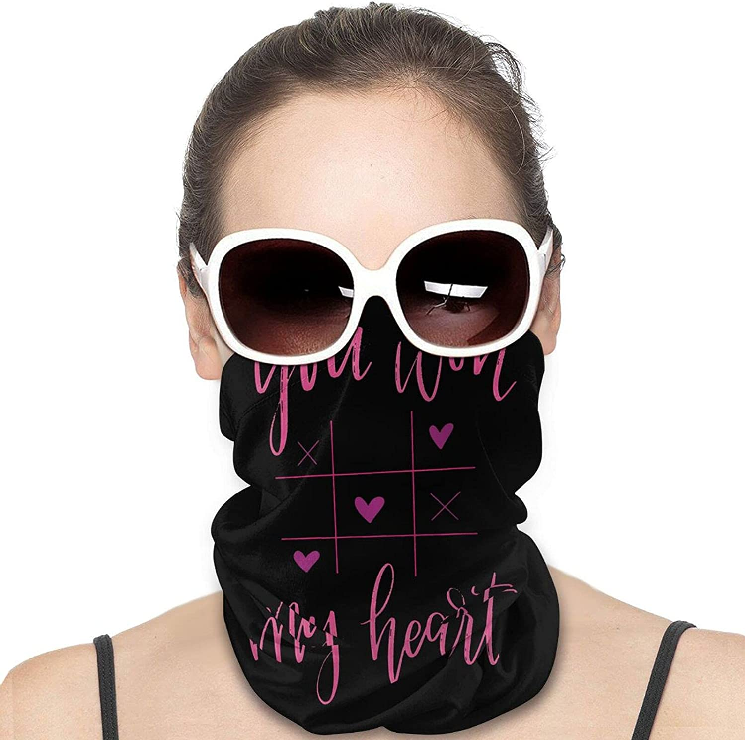 You WON MY HEART Round Neck Gaiter Bandnas Face Cover Uv Protection Prevent bask in Ice Scarf Headbands Perfect for Motorcycle Cycling Running Festival Raves Outdoors