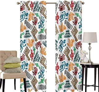 hengshu Tribal Bedroom Curtains Blackout Shades Mayan and Aztec Primitive Icons with Shaman and Lamas Figures Archaic Boho Design Darkening Drapes for Bedroom W52 x L95 Inch Multicolor
