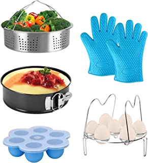 Pressure Cooker Accessories fit 8qt 6qt 5qt Instant Pot Upgrade Egg Rack with Handle, Egg Bites Mold with Lid, Vegetable Steamer Basket, Non-stick Springform Pan and Silicone Oven Bbq Glove Mitts