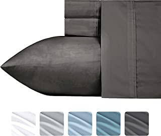 California Design Den #1 Bed Sheet Set 700-Thread-Count Poly Cotton Sheet Set Midnight Grey Queen, 4-Piece Bedding Sheets for Bed, Breathable, Sateen Weave, Fits Mattress Upto 18'' Deep Pocket