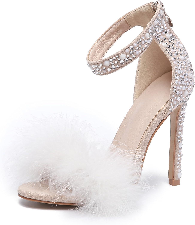 AZMODO Women's Wedding Dress Party & Evening Stiletto Heel Pearl Fur Sandals