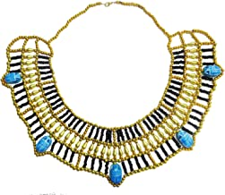 Egyptian Cleopatra Nefertiti Scarab Necklace Collar Choker Hand Made Multi Beaded Beetle Beads King Queen 9.5