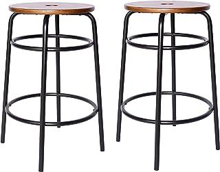 "Amazon Brand – Ravenna Home Caleb Round Barstool with Metal Legs, Set of 2, 24""H, Black"