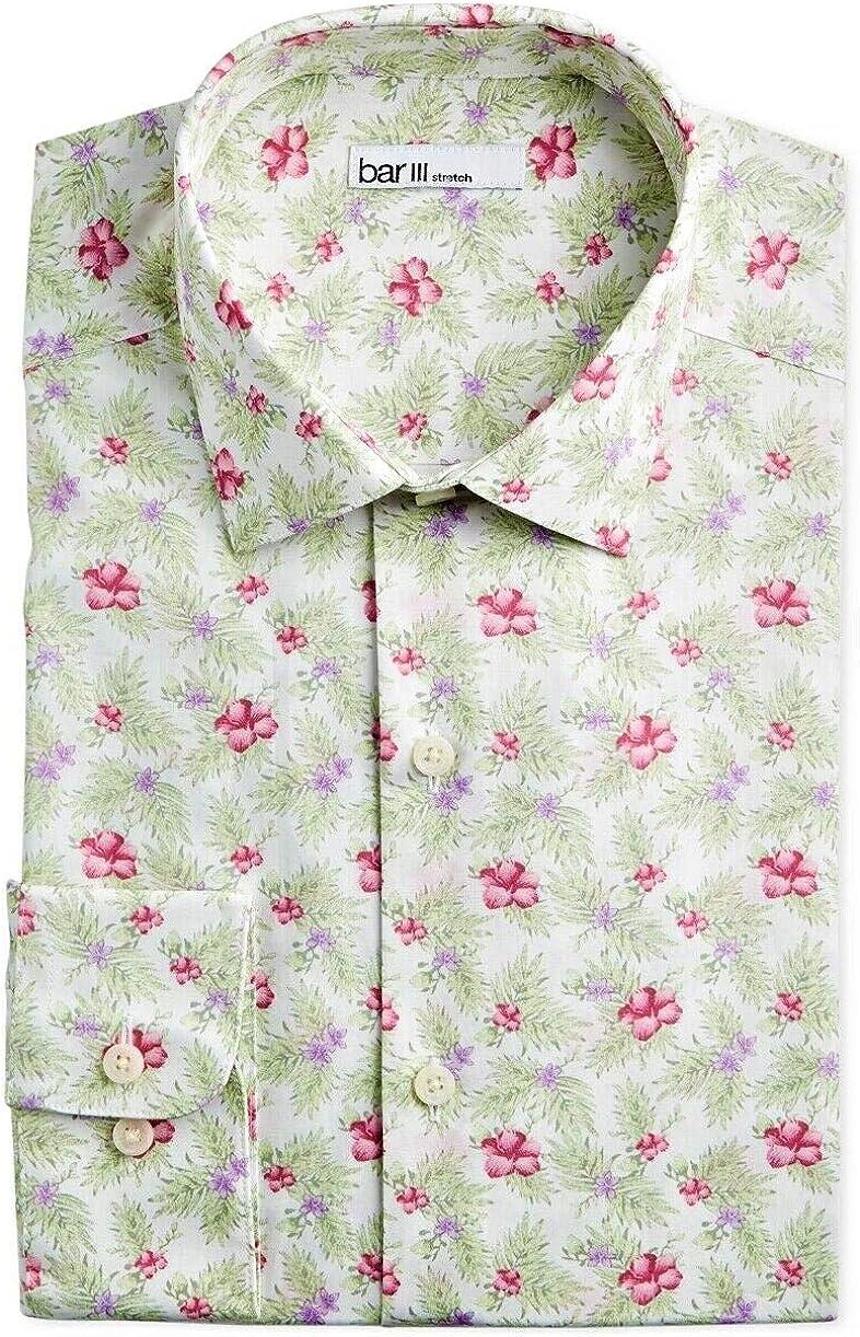 BAR III Mens White Multi Floral Print Cotton Button Down Casual Shirt Long Sleeve 34/35 17-17.5 New