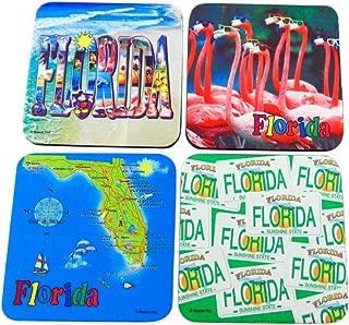 Florida Sunshine State Beach Coastal Designs Souvenir Gift Drink Coasters, Pack of 4