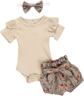 Newborn Baby Girl Clothes Flare Sleeve Romper + Floral...
