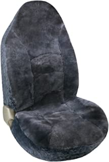 Leader Accessories 1pcs Auto Front High Back Genuine Sheepskin Seat Cover for Car,Truck,SUV Gray