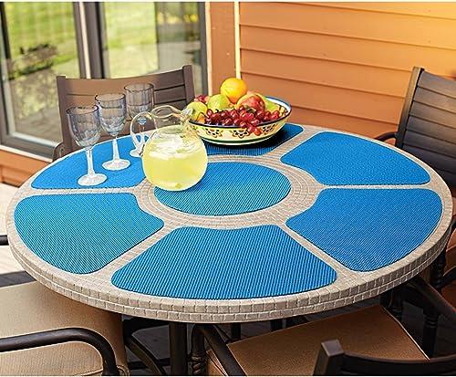 """2021 Place Mat Set lowest 7 Piece Outdoor Round Table Mesh popular Place Mat,Blue,18"""" online sale"""