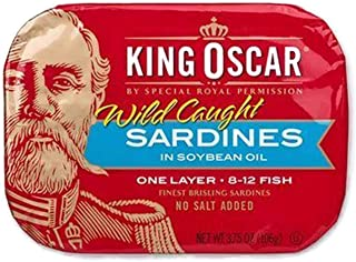 KING OSCAR WILD CAUGHT SARDINES IN SOYBEAN OIL (Twelve - 3.75oz cans)
