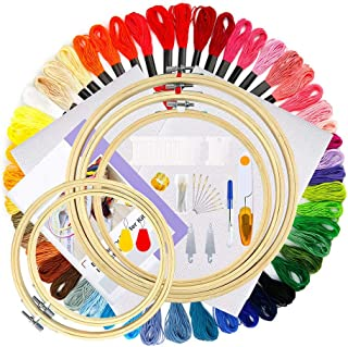 Embroidery Kit with Instructions Bamboo Embroidery Hoops Cross Stitch Tool Kit for Adults and Kids Beginners 50 Color