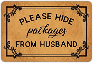 Front Door Mat Welcome Mat Please Hide Packages from Husband Rubber Non Slip Backing Funny Doormat Indoor Outdoor Rug 23.6