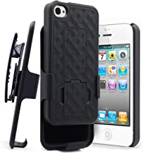 iPhone 4 Case, iPhone 4S Holster Case, NageBee Ultra Slim [Swivel Belt Clip] Kickstand Armor Shockproof Protective Defender Cover Shell Combo - Black