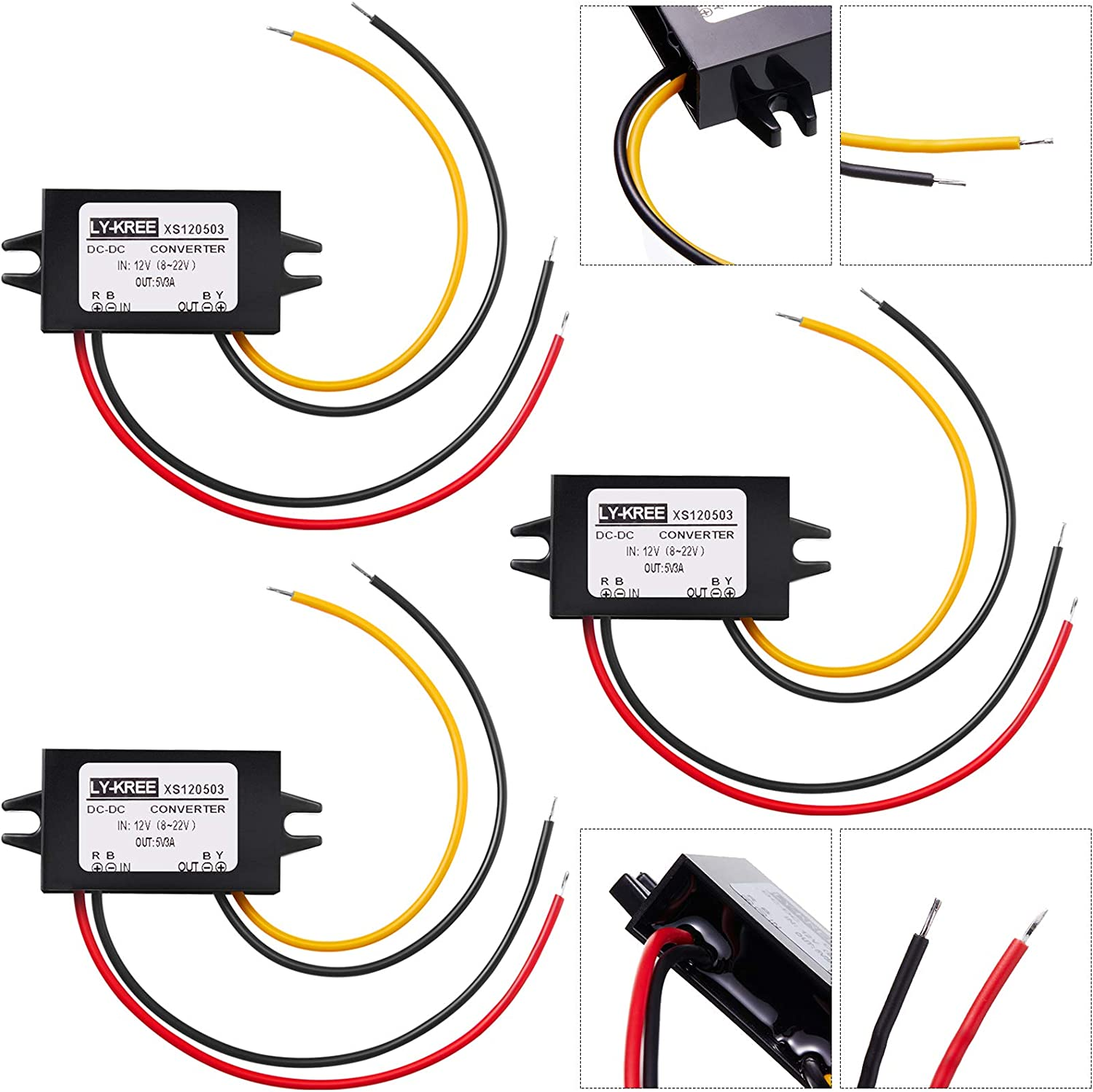 DC Converter 12V to 5V 3A 15W DC Buck Converter Module, DC to DC Reduced Voltage Regulator Car Power Converter Output Power Adapter, Wire Interface (3 Pieces)