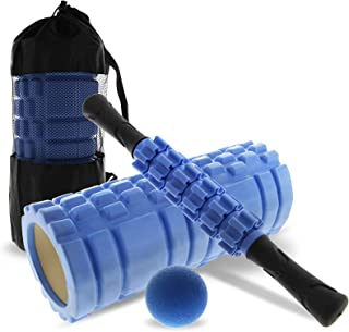NUKVRYY Foam Roller Set 4 in 1 Massage Roller with Yoga Foam Roller, Muscle Roller Stick, Massage Ball with Carrying Bag, ...
