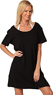 INGEAR Cotton Dress Summer White Beach Sleeve Casual Short Cover Up Plus Size