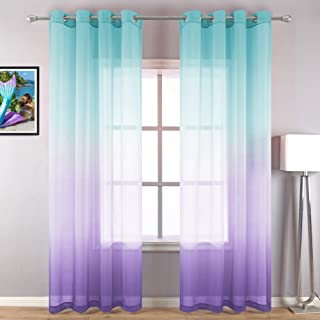 Lilac and Turquoise Curtains for Bedroom Girls Room Decor 2 Panels Ombre Patterned Window Semi Sheer Grommet Curtains for ...