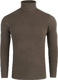 Maglione dolcevita uomo color caramello slim fit ad intessitura larga linea vintage con scuciture caldo e confortevole uomo maglioncini made in italy