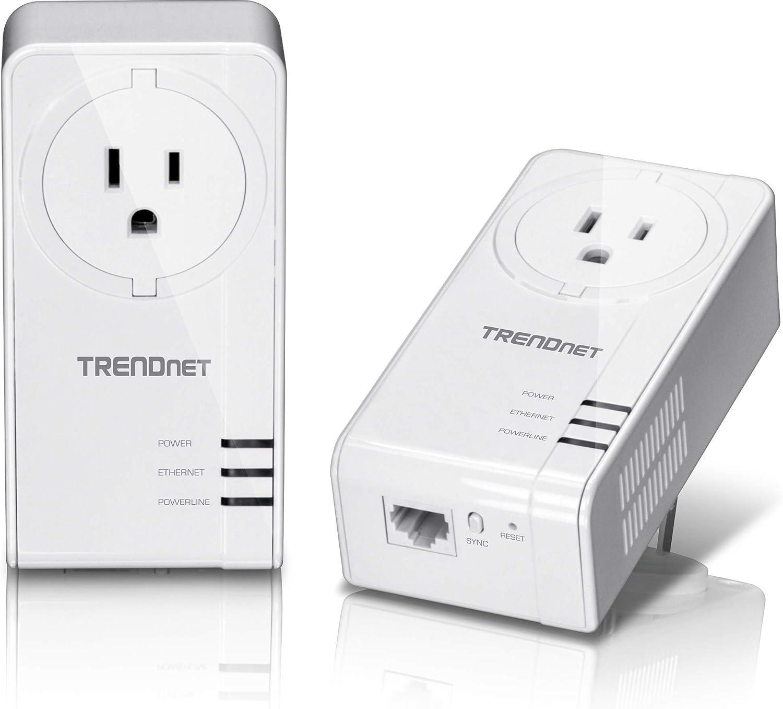 TRENDnet Powerline 1300 AV2 Adapter With Built-in Outlet Adapter Kit, Includes 2 x TPL-423E Adapters, IEEE 1905.1 & IEEE 1901, Gigabit Port, Range Up To 300m (984 ft), White, TPL-423E2K
