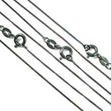 BeadUnion Sterling Silver Oxidized 1mm Tiny Curb Chain Necklace