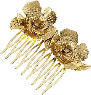 Alilang Golden Tone Metal Vintage Floral Rose Leaf Hair Pin Clip Comb