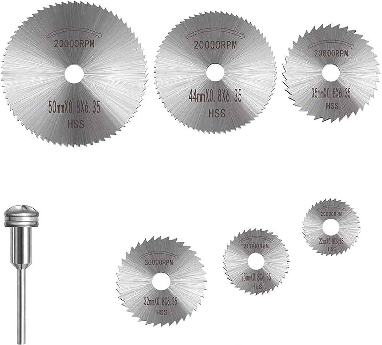 6 Pzs Disco Sierra Circular Hierro, Hojas de Corte de Disco de Sierra de Acero, Potentes Hojas de Taladro de Disco de Corte Afilado Y Juego de Mandril (22 mm 25 mm 32 mm 35 mm 44 mm 50 mm)
