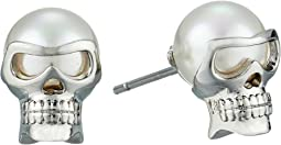 Majorica - 8mm Round Skull Stud Earrings