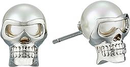 Majorica 8mm Round Skull Stud Earrings